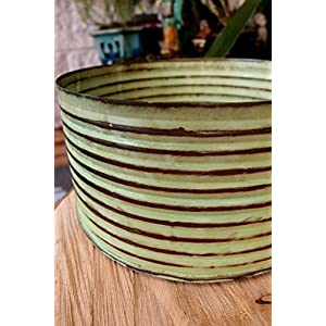 "Wayhome Fair Lime Green Zinc Canister Bowl 7.5"" x 4"" - Excellent Home Decor - Indoor & Outdoor 9"