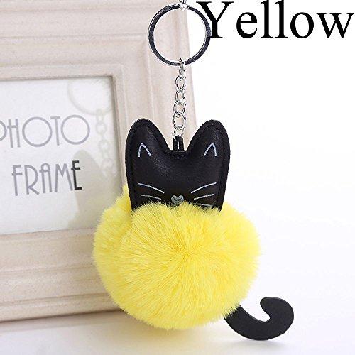ashion Fluffy Cat Mini Keychain for Car Pendant Cute Faux Rabbit Fur Ball Car Key Ring (Yellow) ()
