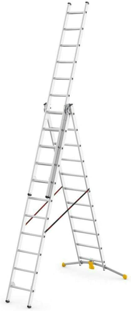 Hailo Hobby-LOT - Escalera de tijera con peldaños (3 x 11 peldaños, hasta 6, 8 m de altura): Amazon.es: Bricolaje y herramientas