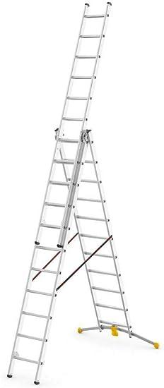 Hailo Hobby-LOT - Escalera de tijera con peldaños (3 x 11 peldaños, hasta 6,8 m de altura): Amazon.es: Bricolaje y herramientas