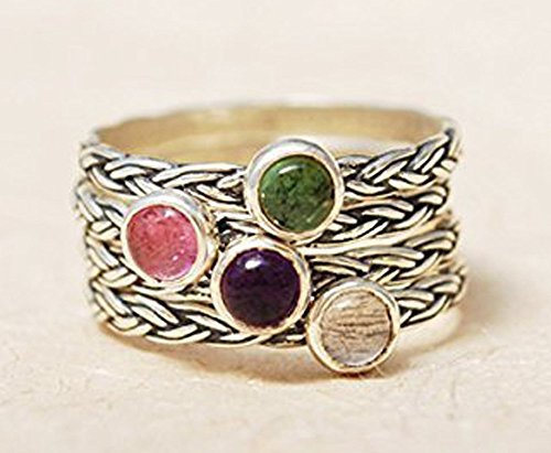Handmade Braided Textured Sterling Silver 925 Personalized Birthstone Stackable Stacking Mothers Family Ring Anniversary Gift by Jewell Ray
