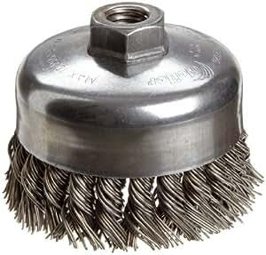 Weiler cepillo de copa de alambre, rosca diámetro del agujero,, parcial Twist de nudo de acero alambre de una sola fila, 4de diámetro, 0,035, 5/8–11Arbor, 1–1/4Longitud de cerdas, 9000RPM (1unidades) Talla: 4, Modelo: 12326, Tools & hardware Store