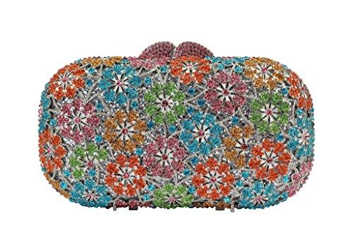 Yilongsheng Señoras de cristal de baile bolsas con brillantes de flores en forma de Multicolor