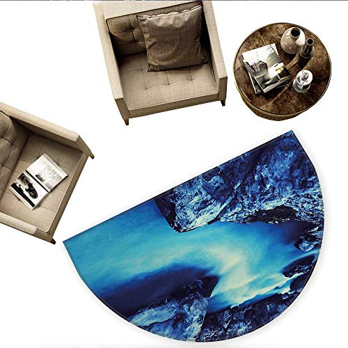 Waterfall Semicircular CushionFrozen Dangerous Lake with Atmosphere of a Cave and Snow on The Rocks Nature Entry Door Mat H 63