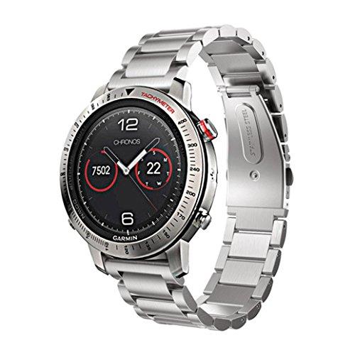 Coohole Stainless Steel Smart Watch Band Strap Bracelet For Garmin Fenix Chronos (Silver)