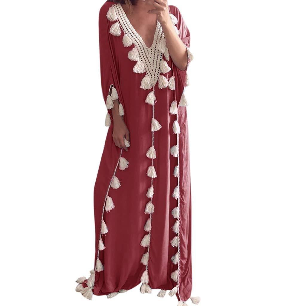 Women Bohemia Maxi Dress, Summer Tassel Loose V Neck Knitting Long Sleeve Boho Maxi Long Dress