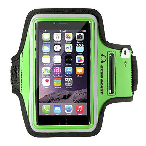 Gear Beast Sport Gym Running Armband with Key Holder and Reflective Safety Band for iPhone 6s, 6, Galaxy S7, S6, S6 Edge, S5, Motorola Moto G, Moto E, Moto X, Droid Maxx, Droid Turbo, (Seeking Men)