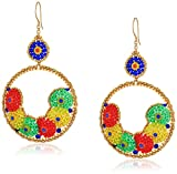 Miguel Ases Large Overlapping Bordering Circles Swarovski Drop Earrings