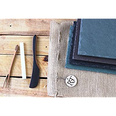 5 Piece Gift Set - Heirloom-Quality Black Slate Cheese Board Serving Platter - 6  x 12  | Includes Handcrafted Serving Utensils, Storage Bag + Chalk