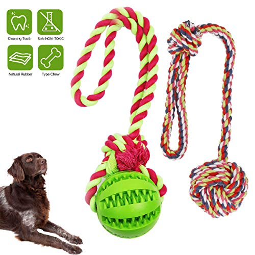 Puppy chew Toys, Dog Rope Toys Bite Resistant Toy Ball Dog Treat Food Dispensing Puzzle Toys for Small Medium Dogs Teething Dog Balls Increases IQ and Release Emotion