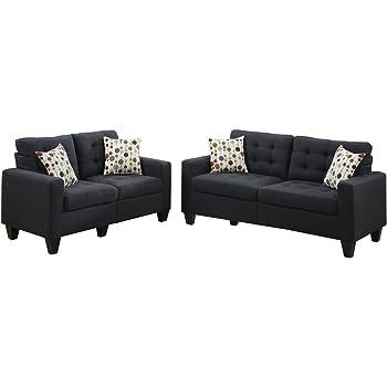 Ordinaire Poundex F6903 Bobkona Windsor Linen Like 2 Piece Sofa And Loveseat Set,  Black