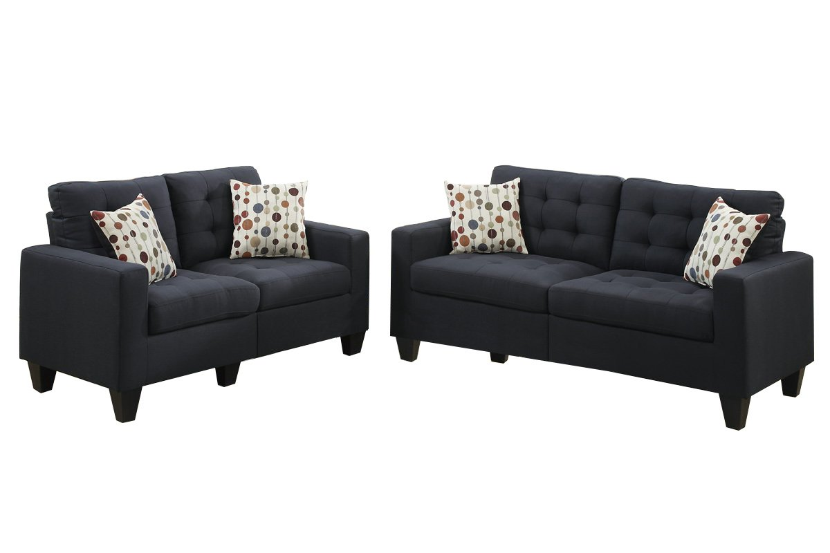 Poundex F6903 Bobkona Windsor Linen Like 2 Piece Sofa And Loveseat Set,  Black Part 83