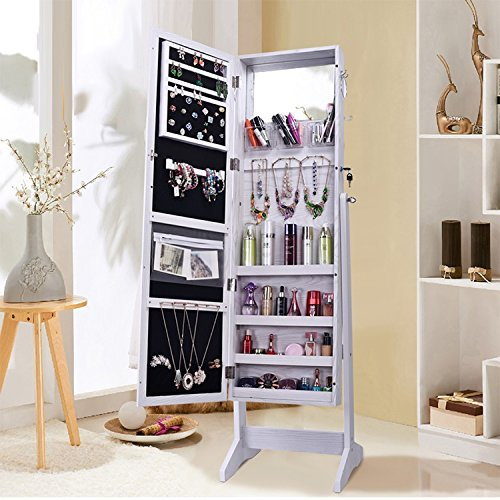 Shelving Solutions Jewelry Cabinet Armoire, Mirrored Jewelry Armoire with Stand, White (Bedroom Mirrored Cabinet)