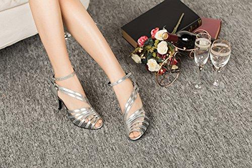 Miyoopark Womens Ankle Strap Synthetic Latin Tango Dance Shoes Ballroom Dancing Evening Sandals Black-8.5cm Heel tkHs2