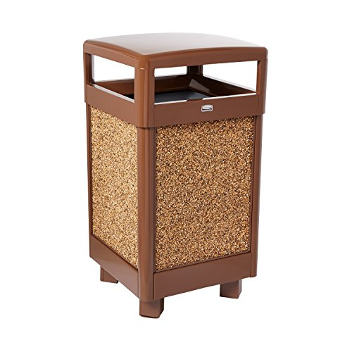 Rubbermaid Commercial Aspen Trash Can with Rigid Plastic Liner, 29 Gallon, Brown with Desert Brown Stone, FGR36HT201PL