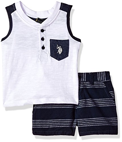 U.S. Polo Assn. Baby Boys Tank and Short Set, US Polo Assn on Back Multi Plaid, 3-6 Months