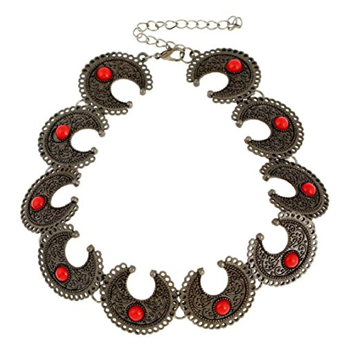 Ikevan Retro Elegant Retro Bohemia Ox Horn Design Necklace Clavicle Chain Collar Jewelry Accessories for Women Girls (Red)