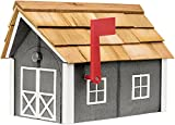Painted Amish Mailbox with Cedar Roof and Windows & Door Trim (Dark Gray with White Trim)