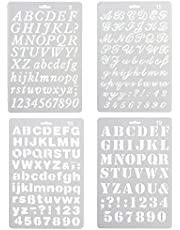 Pack of 4 Plastic Alphabet Letter Number Drawing Painting Stencils Scale Template Sets for Bullet Journal Stencil Planner/Scrapbook/DIY Painting Craft Projects