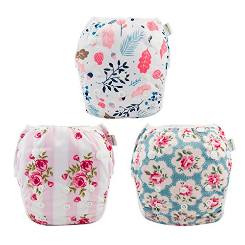 babygoal Reusable Swim Diaper for Girls, One Size Adjustable and Washable Swim Underwear fits Babies 0-2 Years and Swimming Lessons 3SD01 ()