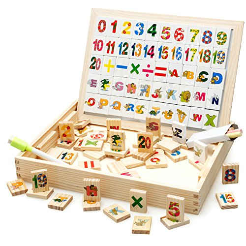 Elloapic 104PCS M Letters & Numbers in Box with Writing Drawing Sketchpad Board Maths Counting Early Learning Education Toy Chalkboard Board - Leapfrog Writer