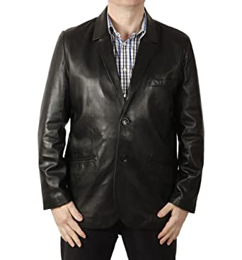 de87d4330f9 Simons Leather Men s Semi-Fitted Two-Button Leather Blazer at Amazon ...