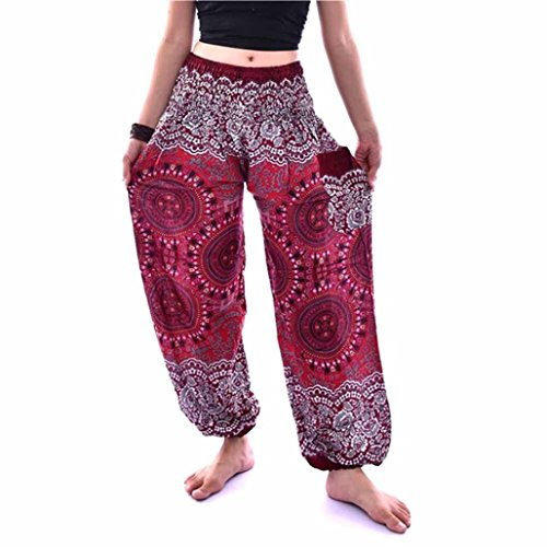 Hippie Khakis (TAORE Leggings Women's Smocked Waist Harem Trousers Hippie Boho Yoga Palazzo Casual Pants (Free Size, Compass-Wine))