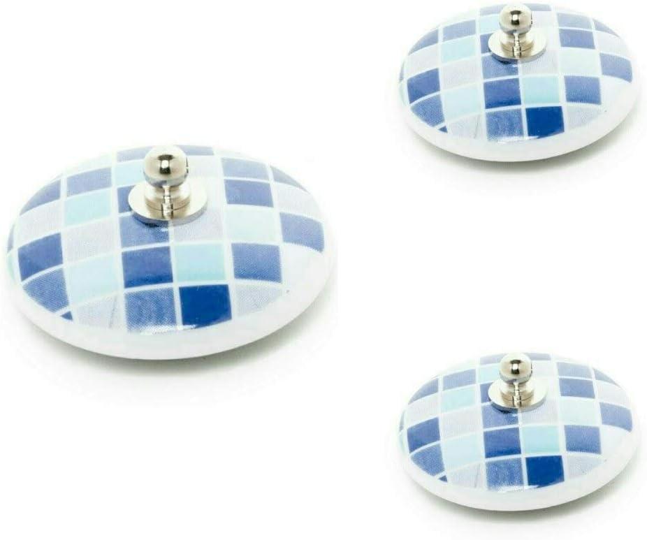 Gresite Azul Abc/_ba/ño Tapones de Lavabo 3uds de Porcelana gresites