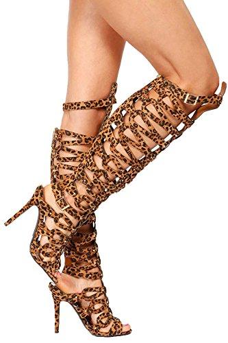 Sandalias Gladiator 31 Diva 6 Heel Women 's Black Breckelle's High leopardo 31 22 wIq0gZC