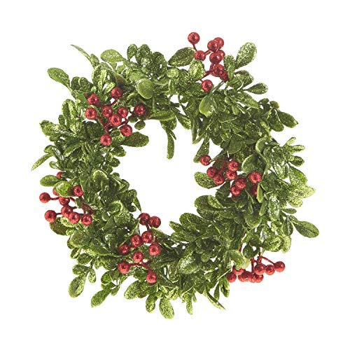 Glittered Christmas 11 Inch Holly Berry Candle Ring for Pillar Candles and Glass Hurricanes ()