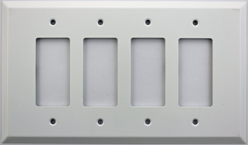 Over Sized Jumbo Smooth White Stamped Steel 4 Gang Wall Plate - 4 GFI/Rocker Opening