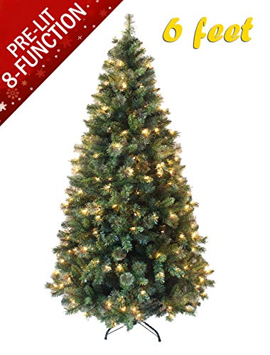 AMERIQUE 691322311464 6 FEET Eight-Function Pre-Lit Premium Magnificent Artificial Full Body Shape Christmas Tree with Metal Stand, Hinged Construction, Advanced Realistic Technology, Green