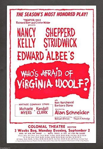 "Edward Albee's ""WHO'S AFRAID OF VIRGINIA WOOLF?"" Nancy Kelly 1963 Boston Flyer"