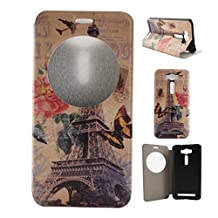 "Zenfone 2 Laser (ZE500KL) Case, Asus Zenfone 2 Laser (ZE500KL) Case, SATURCASE PU Leather Flip View Window Stand PC Case Cover for Asus Zenfone 2 Laser ZE500KL 5.0"" Eiffel Tower"