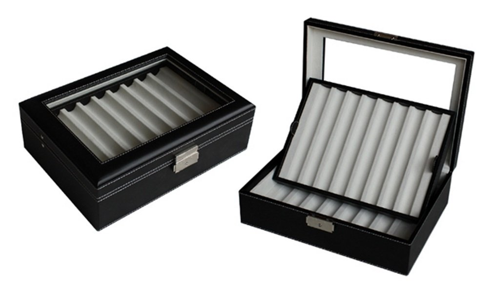 Elegant 16 Piece Black Leatherette Pen Display Case Storage and Fountain Pen Collector Organizer Box with Glass Window by TimelyBuys (Image #6)
