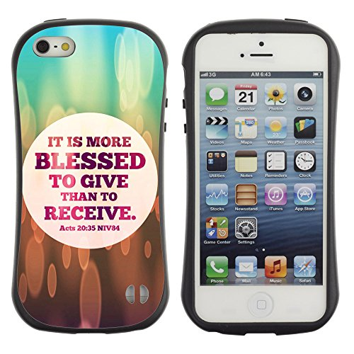 DREAMCASE Citation de Bible Silicone et Rigide Coque Protection Image Etui solide Housse T¨¦l¨¦phone Case Pour APPLE IPHONE 5 / 5S - IT IS MORE BLESSED TO GIVE THAN TO RECEIVE - ACTS 20:35