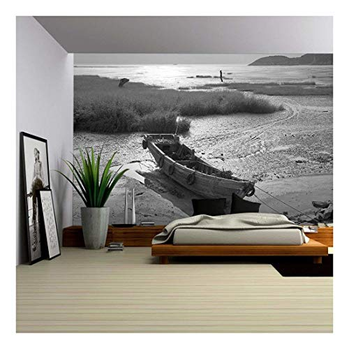 wall26 - Wooden Boat by the Bay - Removable Wall Mural | Self-adhesive Large Wallpaper - 66x96 inches