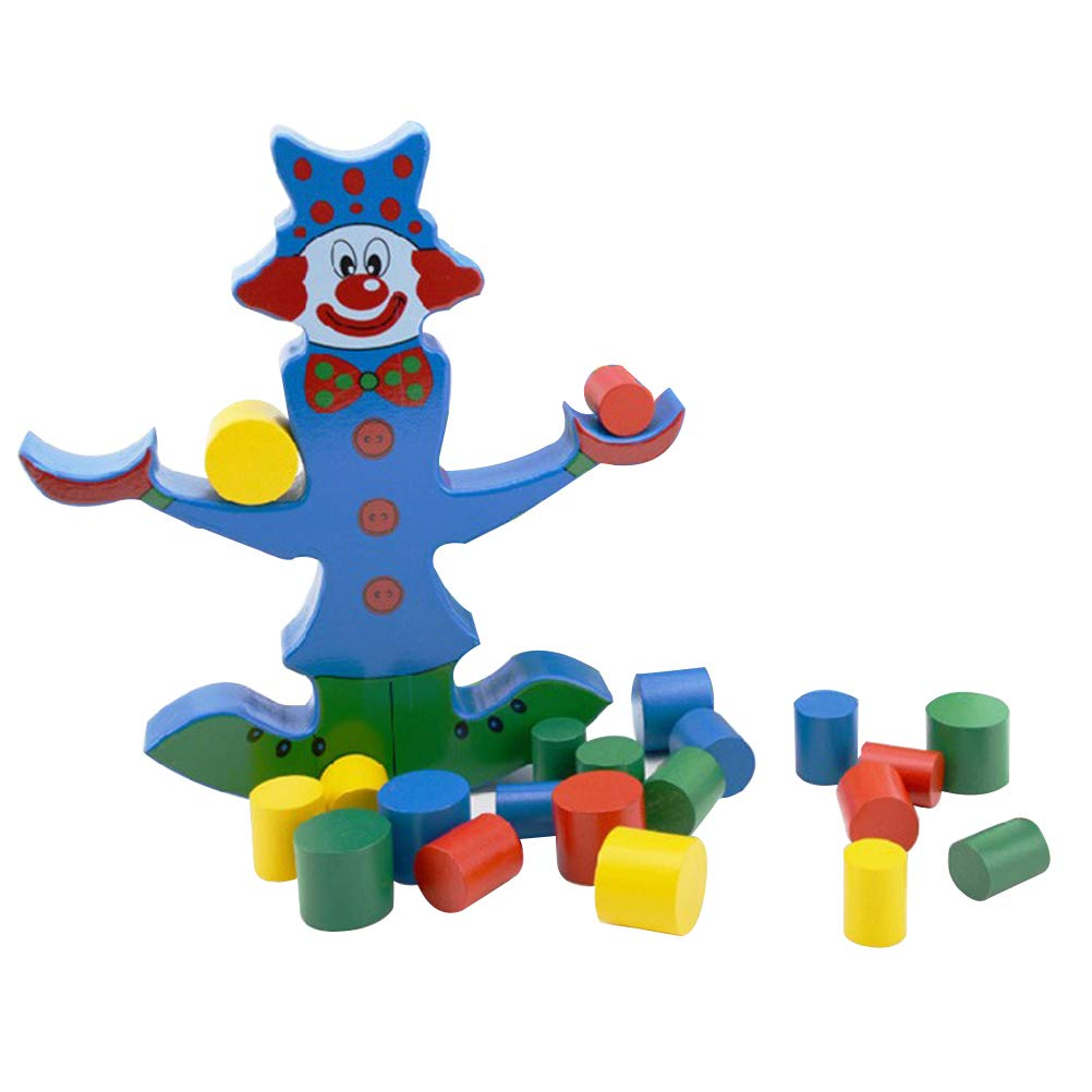 YeahiBaby Stacking Wooden Puzzles Balance Blocks Clown Balance Beam Early Educational Toy