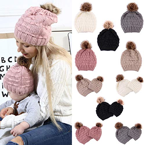 2PCS-Parent-Child-Hat-Mother-Child-Daughter-Son-Baby-Winter-Warm-Soft-Knit-Hat-Family-Crochet-Beanie-Ski-Cap-with-Pom-Pom