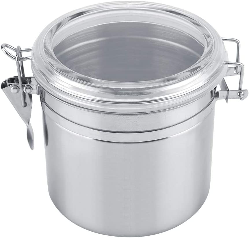 HERCHR Stainless Steel Coffee Canister, Airtight Sugar Container, Food Storage Container for Kitchen Counter(800/1100 / 1400 / 1900ml)(M)