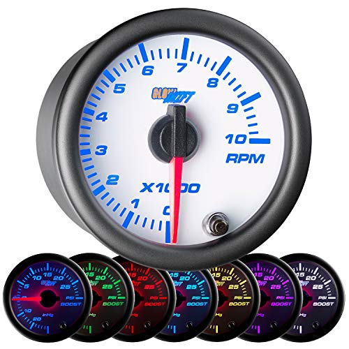 - GlowShift White 7 Color 10,000 RPM Tachometer Gauge - For 1-10 Cylinder Gas Powered Engines - White Dial - Clear Lens - 2-1/16