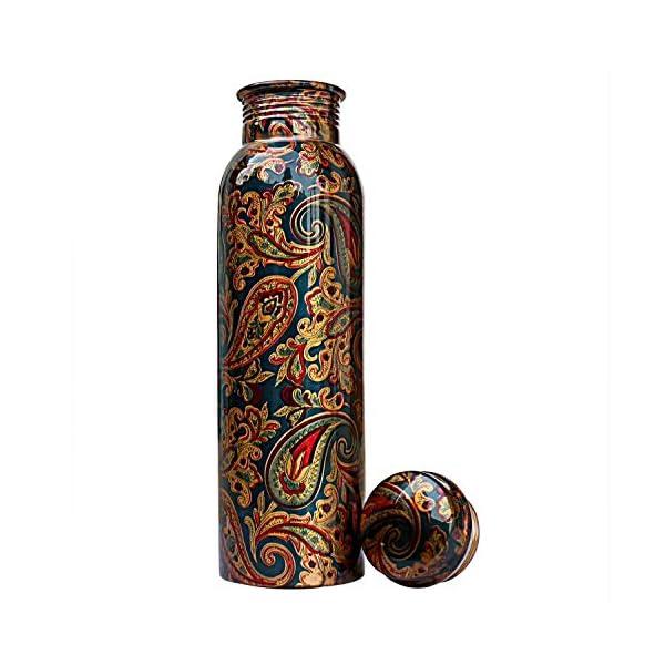 Golden Valley Handicraft World Pure Copper Printed Water Bottle | Designer Copper Bottle 1 Litre, Leak Proof, Jointless…