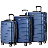 Resena 3 Piece Carry On Spinner Wheels Luggage Sets Travel Suitcases (Navy Blue)