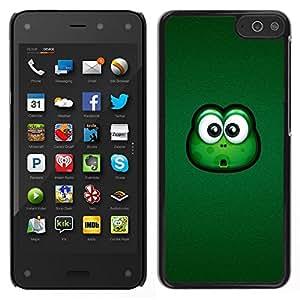 Caucho caso de Shell duro de la cubierta de accesorios de protección BY RAYDREAMMM - Amazon Fire Phone - Rana grandes ojos verdes animal de la historieta amistoso