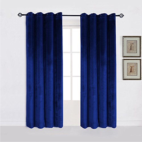 - Fabricart Window   Door Grommet Curtains Heavy-Soft Velvet Lined Panels with Stainless Steel Rings-Eyelet Curtains for Rooms   Theater  - 2 pcs-50'' w X 120'' h-Navy Blue