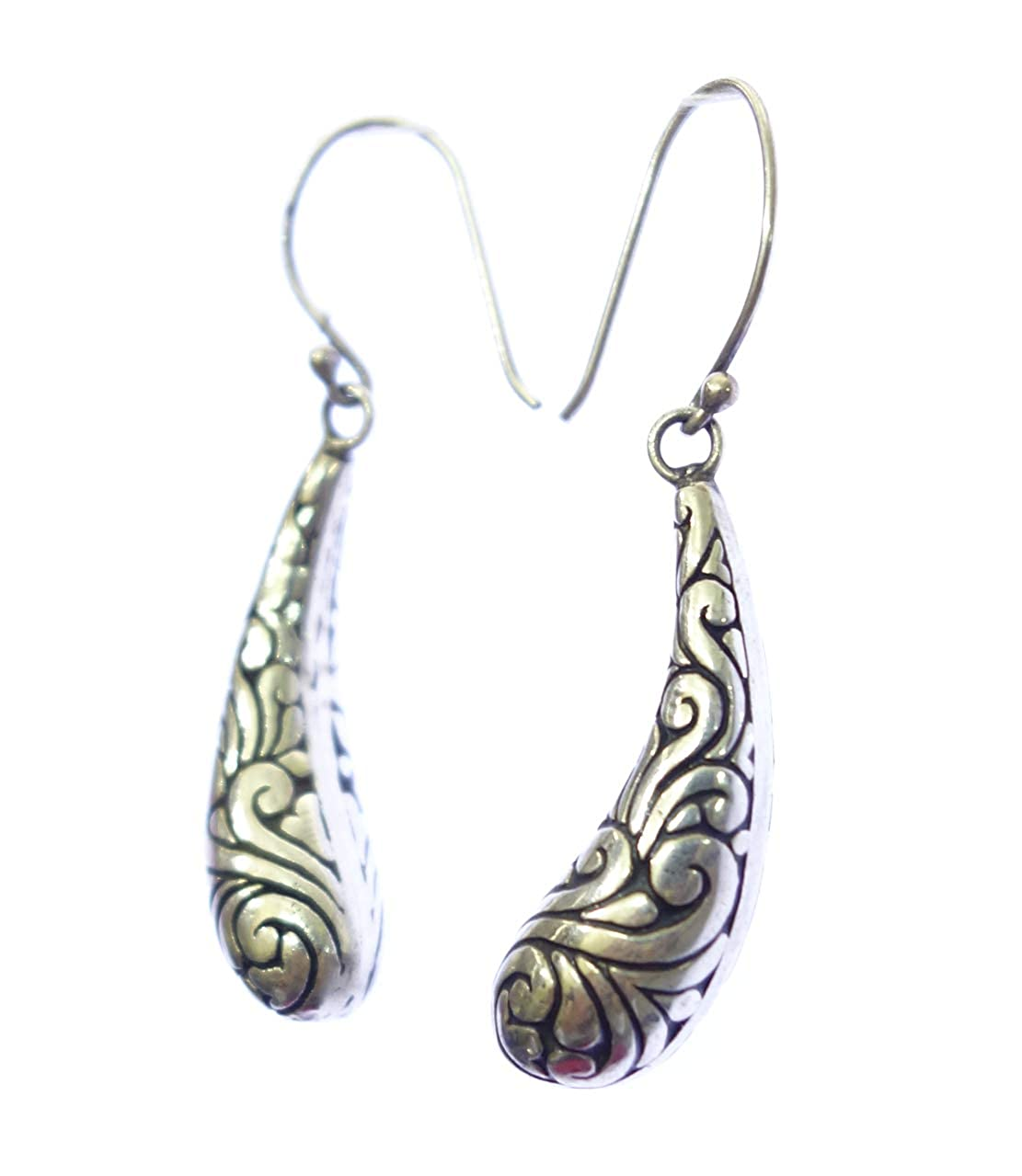 AUTHENTIC BALINESE FASHION DROP DANGLE FILIGREE EARRING FOR WOMEN /& GIRLS 925 STERLING SILVER ETHNIC TRIBAL UNIQUE DESIGNER MODERN EARRING JEWELRY HANDMADE BY ARTISANS