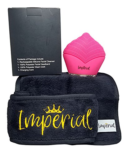 Facial Cleansing Brush Silicone Ultrasonic Massager Exfoliator Bundle With Spa Headband and Makeup Removing Wash Cloth by Imperial