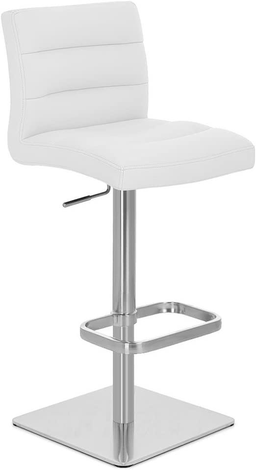 Zuri Furniture White Lush Square Base Adjustable Height Swivel Armless Bar Stool