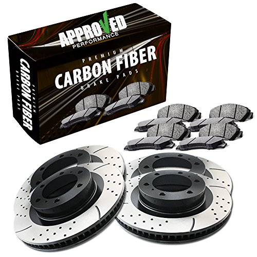 Approved Performance C3296 - [Front & Rear Kit] Performance Drilled/Slotted Brake Rotors and Carbon Fiber Pads