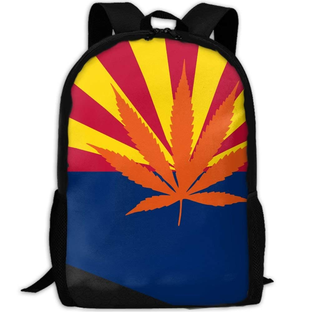 d9abac177b8a Weed Arizona Flag Map Unique Outdoor Shoulders Bag Fabric Backpack ...